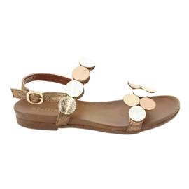Golden sandals Daszyński MR1958-1 brown silver