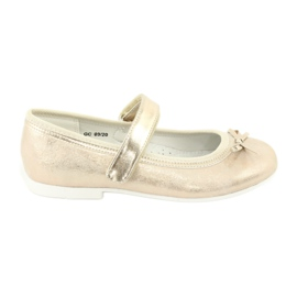 American Club GC02 golden ballerinas with a bow beige