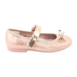Golden Rose Ballerinas with a bow American Club GC03 / 20 pink yellow