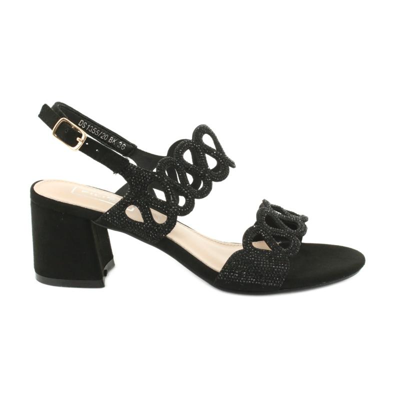 Black sandals with cubic zirconia Filippo DS1355 / 20 BK
