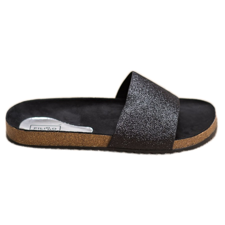 Filippo Black Slippers With Brocade