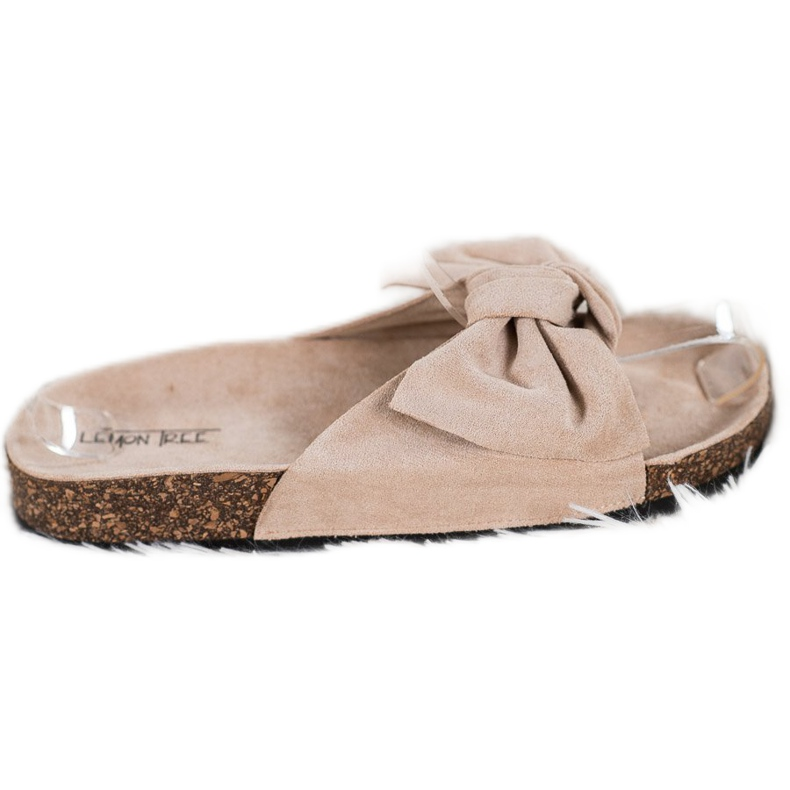 SHELOVET Suede Flip-flops With Bow brown