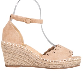 Evento Sandals with an openwork pattern brown