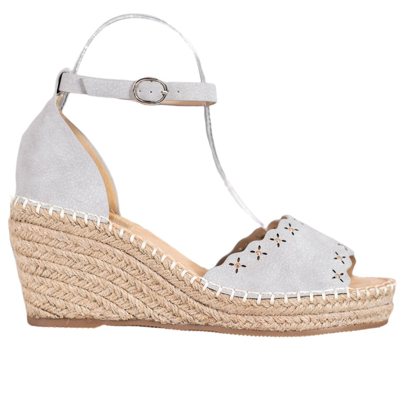 Evento Sandals with an openwork pattern grey