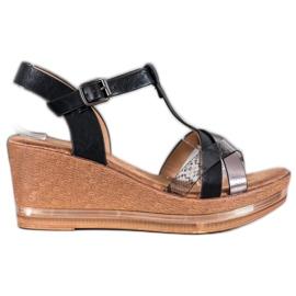 Evento Elegant Wedge Sandals black