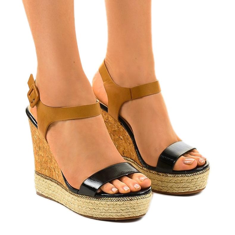 Black sandals on espadrilles VB76063 wedge heels