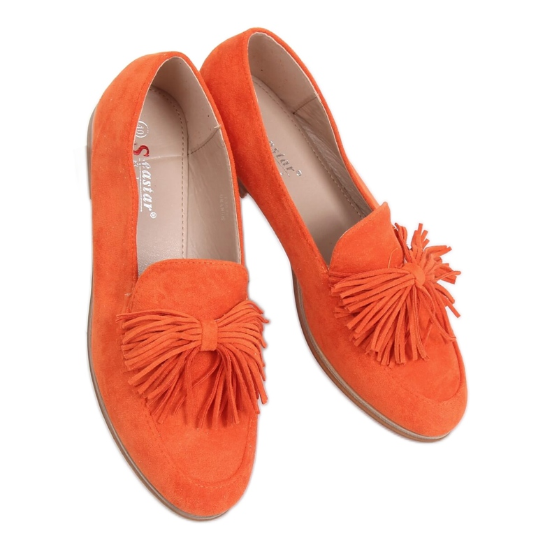 Women's loafers with tassels orange T357P Orange