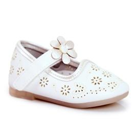 Apawwa Children's Flats Velcro Flower White Flored
