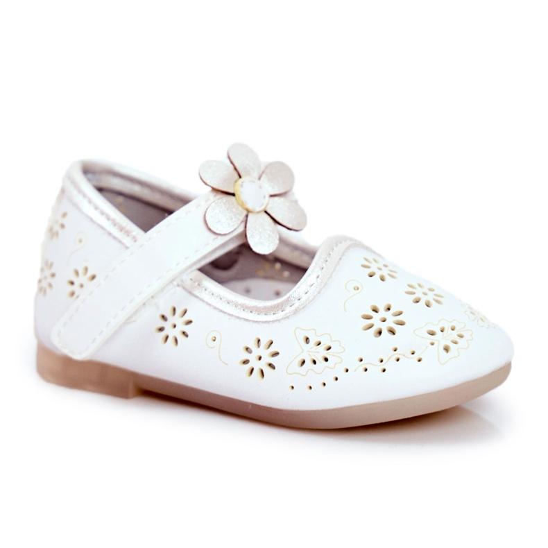 Apawwa Children's ballerinas on Velcro Kwiatuszek White Flored