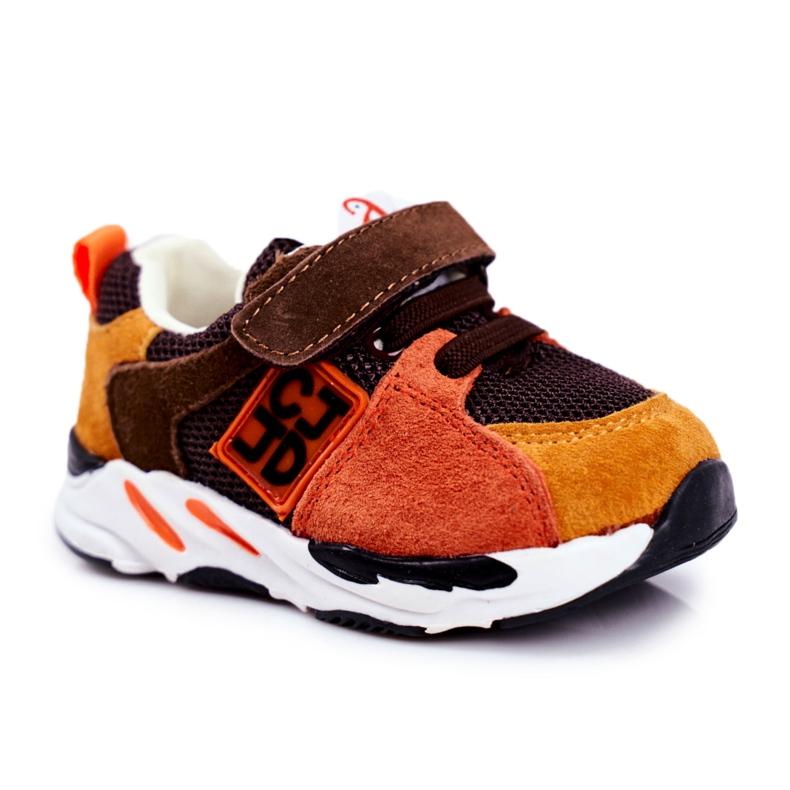 Apawwa Sport Children's Shoes with Velcro Brown Jonaba orange multicolored yellow