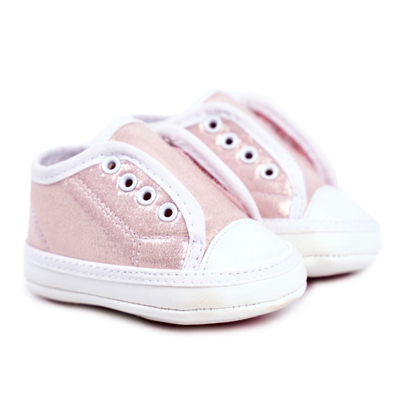 Apawwa Children's Sneakers Velcro With Brocade Baptism Pink Milley