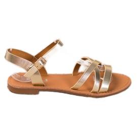 SHELOVET Flat-heeled sandals golden