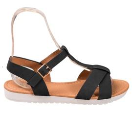 SHELOVET Black Textile Sandals