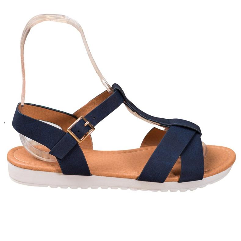 SHELOVET Dark Blue Textile Sandals