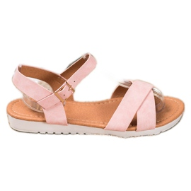 SHELOVET Comfortable textile sandals pink