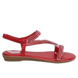 Asymmetrical red sandals KM-33 Red