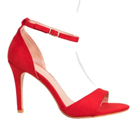 SHELOVET Classic Suede Heels red