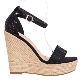 SHELOVET Wedge Sandals With Crystals black