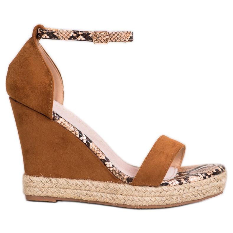 Goodin Suede Wedge Sandals brown