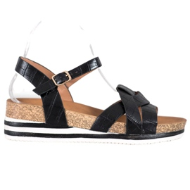 Comer Black Sandals With Eco Leather