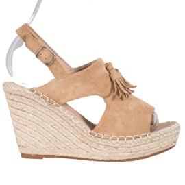 Small Swan Built-in Tassels Sandals brown
