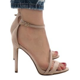 Beige sandals on a NF-12 suede heel