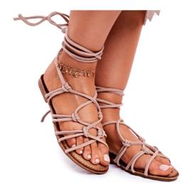 SEA Negros women's tied sandals beige