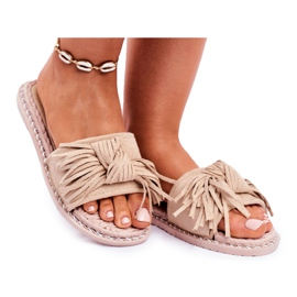 SEA Women's Slippers With Bow Beige Thailand brown