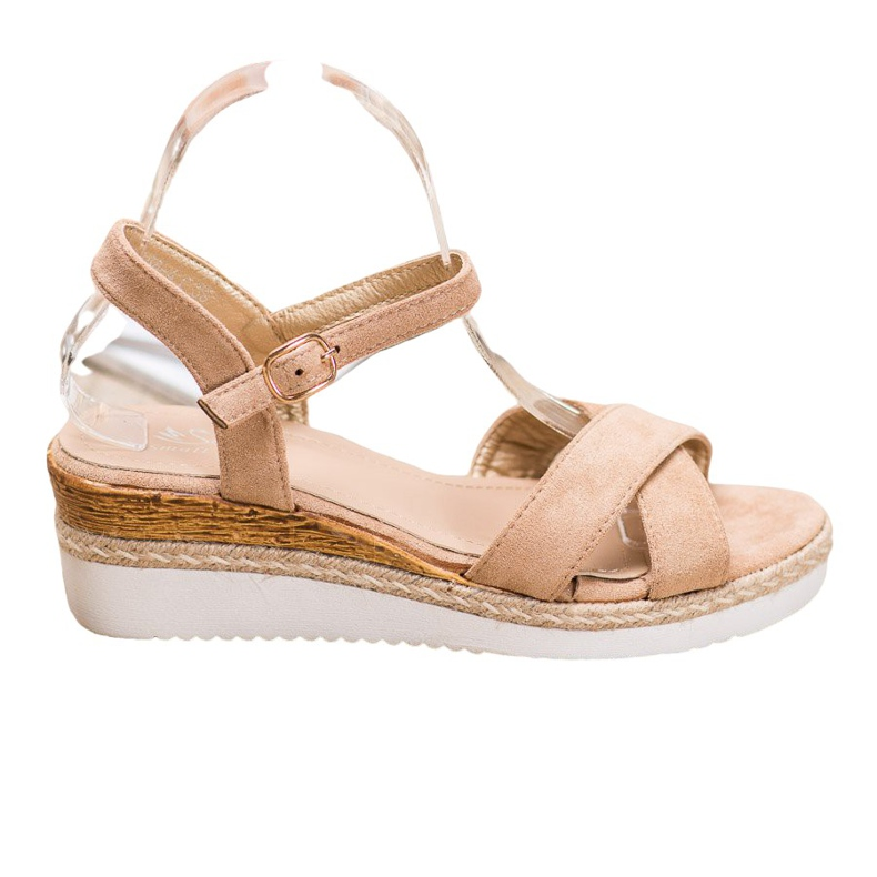 Small Swan Wedge Sandals With Glitter brown