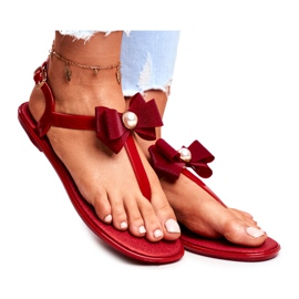 LU BOO Red Women's Rubber Sandals Japanese Etta Bow