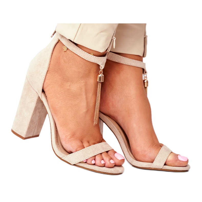 ADY Beige Suede Sandals on a Pole with Tassel Annick