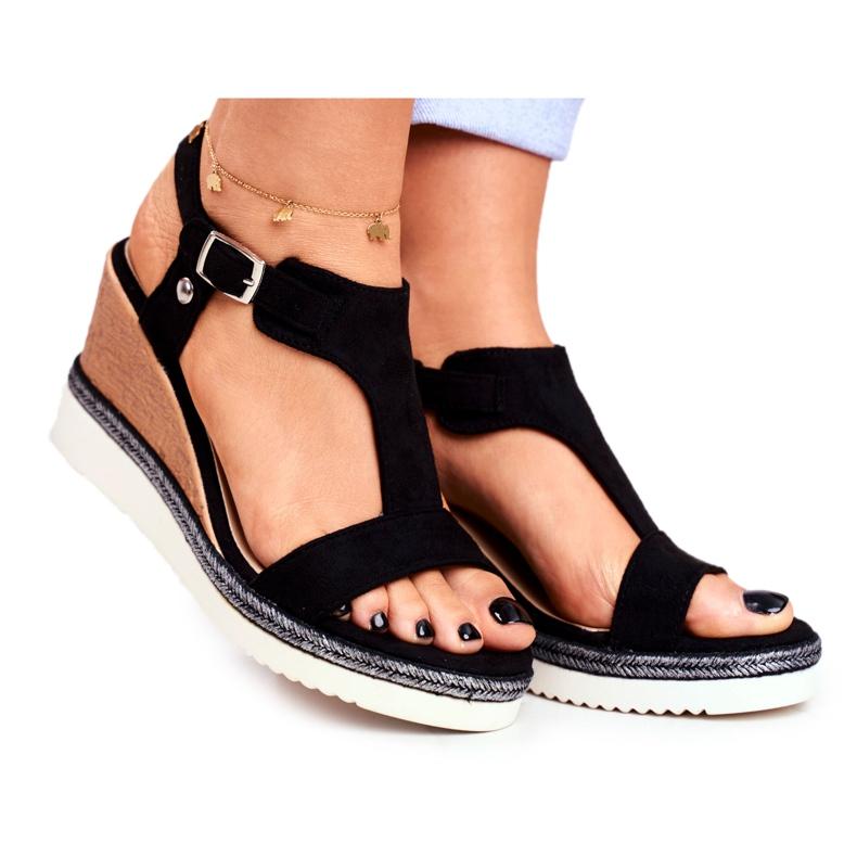 BUGO Women's Black Wedge Sandals Rosa