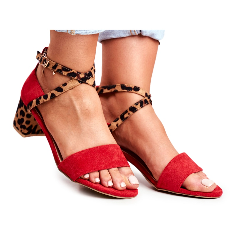 Lu Boo Sandals Red Panther On The Post Dora
