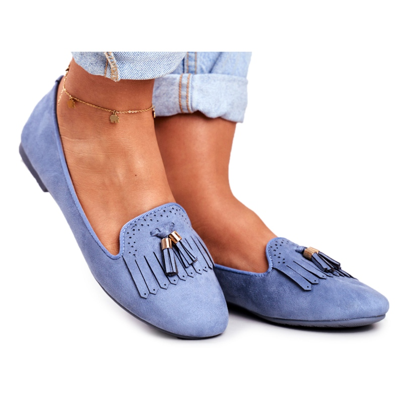 BUGO Women's Loafers Blue Lords Fringes Therese