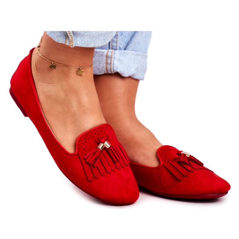 BUGO Women's Loafers Red Lords Fringes Therese