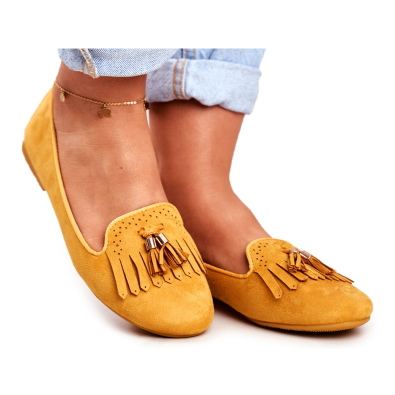 BUGO Women's Loafers Yellow Lords Fringes Therese