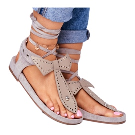 Lu Boo Women's Gray Tied Sandals Japanese Mara grey