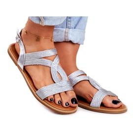 BUGO Women's Flat Silver Sandals Rachel grey