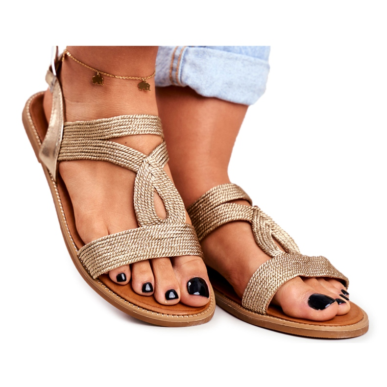 BUGO Women's Flat Sandals Gold Rachel golden