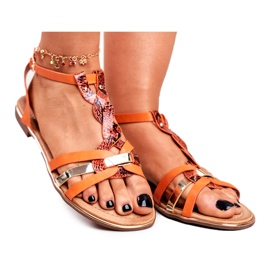 SEA Women's Sandals Elegant Orange Snakeskin Brooke