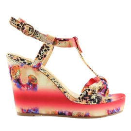Satin sandals on a wedge heel 903 Red II Quality