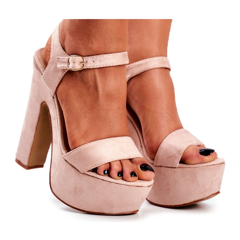LU BOO High Pink Sandals on a Bar HighShoes Platform