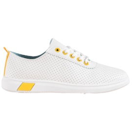 SHELOVET Openwork Sneakers With Eco Leather white
