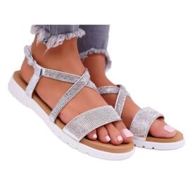 Women's Lu Boo Sandals With Cubic Zirconia 406-5 Silver Stella grey