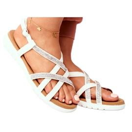 Women's Lu Boo Sandals With Cubic Zirconia 406-6 White Feen grey