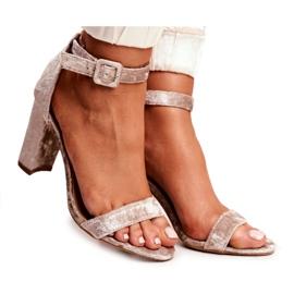 Lu Boo Beige Velor Sandals On A Bar Catherine