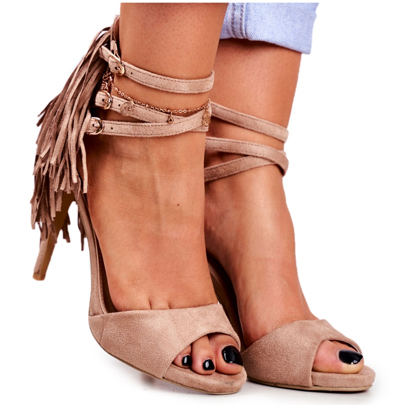 LU BOO Women's Sandals On A High Heel Gladiator Beige Carnival