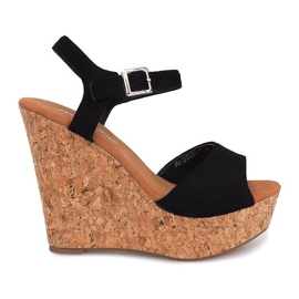 Black Sandals On Wedge Heel 5H5654
