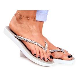 SEA Women's Slippers Flip-flops Braided Belt Gray Peggie grey