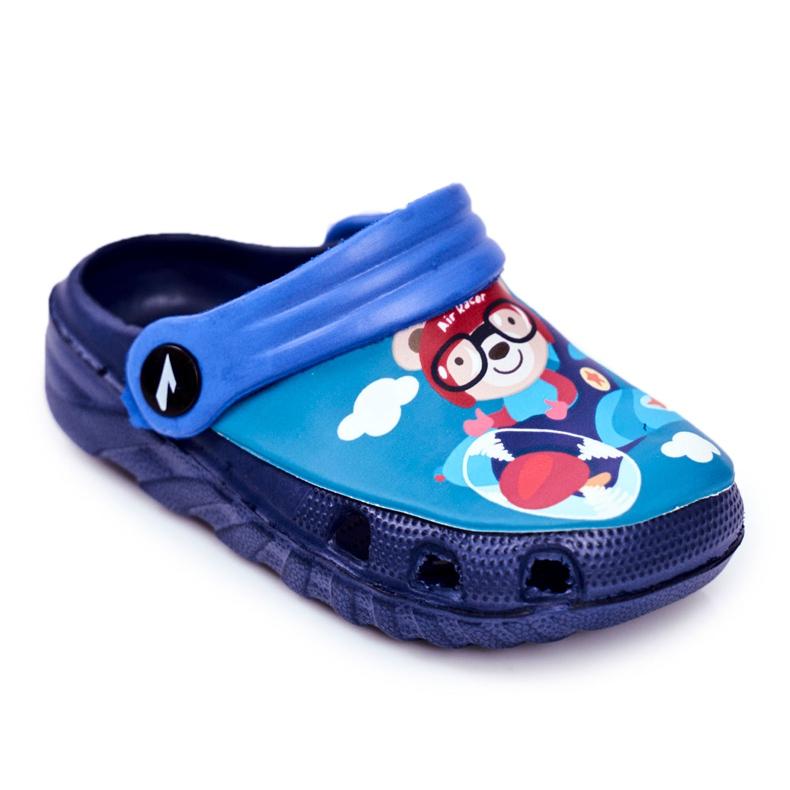 Children's Slippers Foam Crocs Navy Blue Teddy Bear Pilot SuperFly